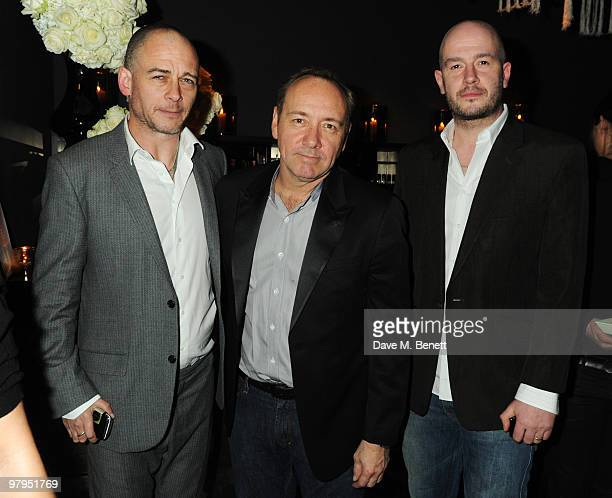 Dinos Chapman Kevin Spacey and Jake Chapman attend the W Doha 1st birthday celebration in partnership with The Old Vic at Chinawhite on March 22 2010...