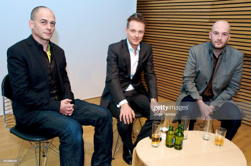 Dinos Chapman, Tim Marlow and Jake Chapman pose for a picture during the Dinos & Jake Chapman In Conversation With Tim Marlow at the National Portrait Gallery on December 10, 2009 in London, England.