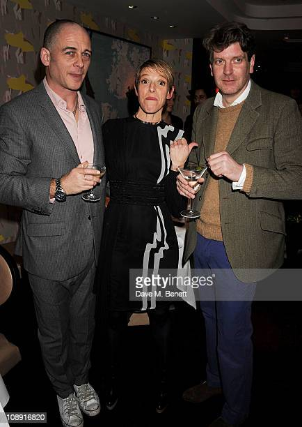 Dinos Chapman, Tiphaine de Lussy and Kevin Allan attend an after party celebrating artist Gary Hume's exhibit at White Cube at Pollen Street on...