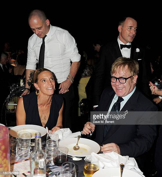 Dinos Chapman, Tiphaine de Lussy, Sir Elton John and David Furnish attend the Grey Goose Winter Ball to benefit the Elton John AIDS Foundation at...