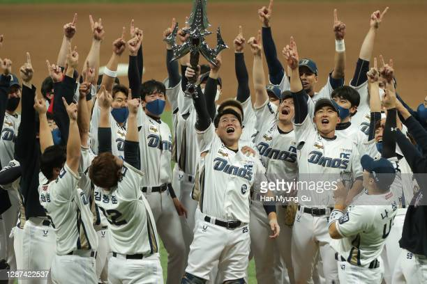 Dinos players celebrate after winning during the Korean Series Game Six between Doosan Bears and NC Dinos at the Gocheok Skydome on November 24, 2020...