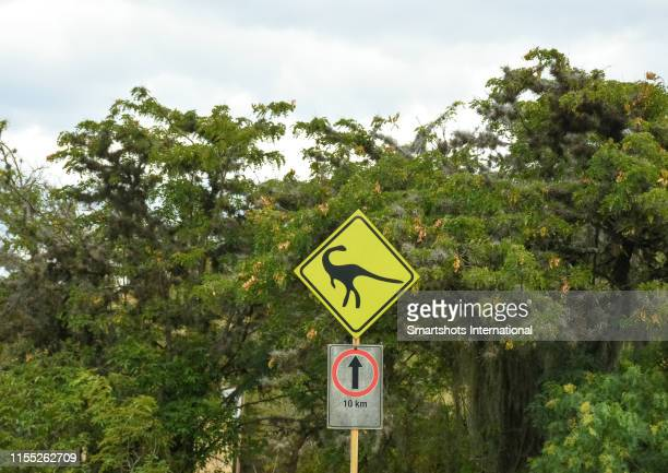 dinosaur crossing road warning sign - sauropoda stock pictures, royalty-free photos & images