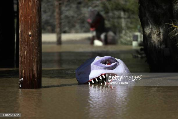 A dinosaur head is visible in a flooded miniature god course on February 28 2019 in Guerneville California The Russian River has crested over flood...