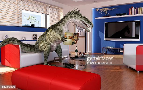 dinosaur in a living room, artwork - out of context stock pictures, royalty-free photos & images