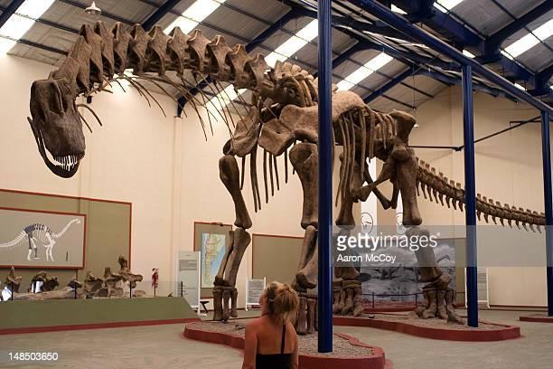 Dinosaur replica at Carmen Funes Municipal Museum.