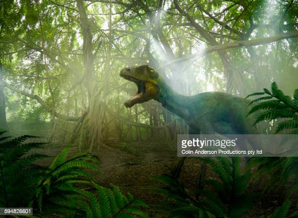 Dinosaur roaring in prehistoric jungle