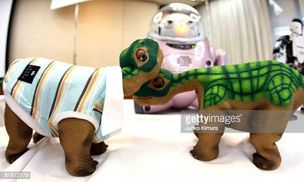 Dinosaur robots 'Pleo' are seen during a Robot Venture Companies' Joint Press Conference at the Prefectural Governments Hall on June 18 2008 in Tokyo...