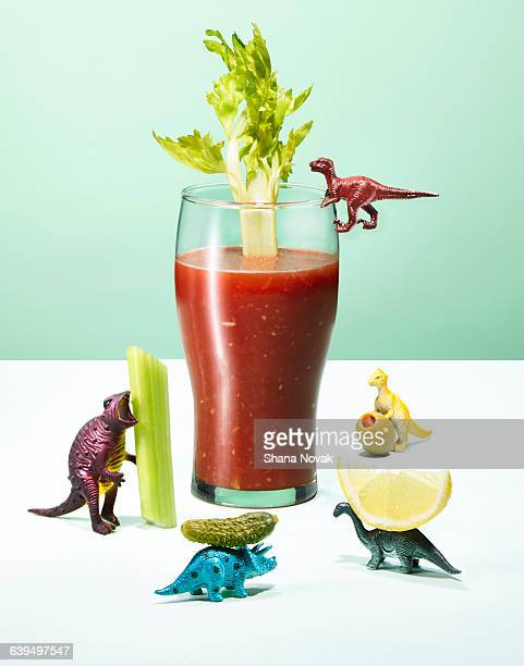 Dinosaur Toys Preparring a Bloody Mary