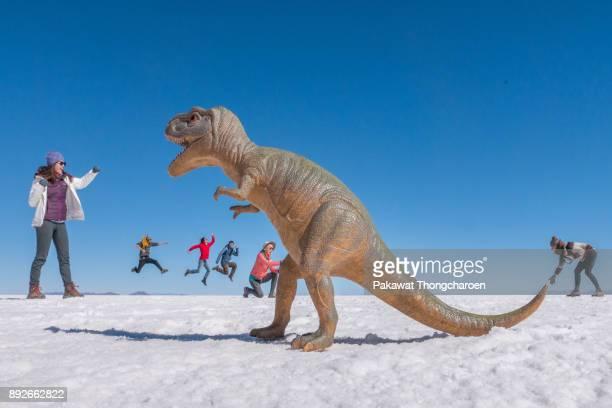 Potosi, Bolivia - June 3, 2017: Dinosaur VS Tourists