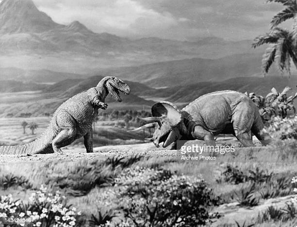 Dinosaurs battling it out in a scene from the film 'The Lost World' 1925