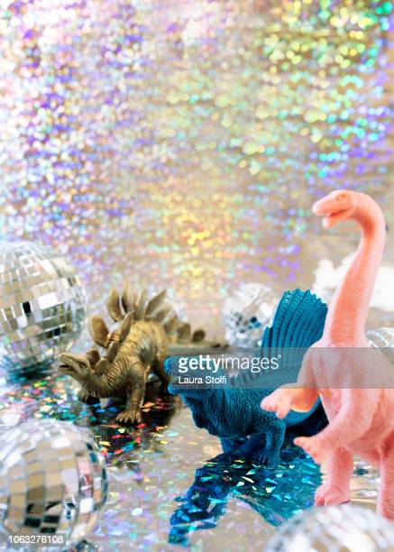 dinosaurs like to party hard - man made age stock pictures, royalty-free photos & images