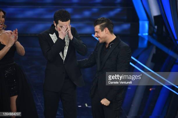 Diodato and Francesco Gabbani attend the 70° Festival di Sanremo at Teatro Ariston on February 08 2020 in Sanremo Italy