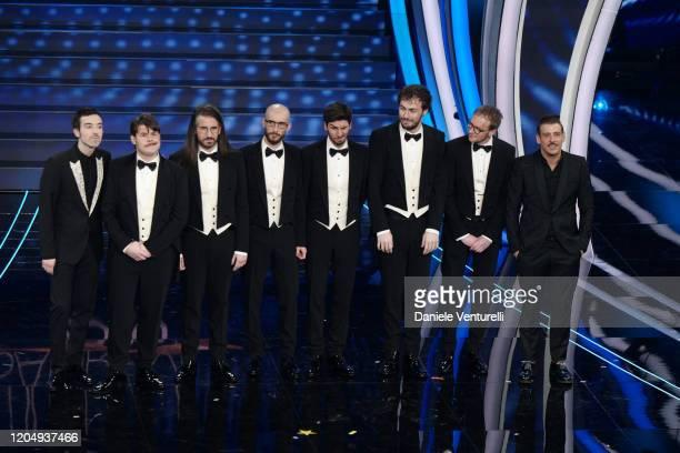 Diodato Pinguini Tattici Nucleari and Francesco Gabbani attend the 70° Festival di Sanremo at Teatro Ariston on February 08 2020 in Sanremo Italy