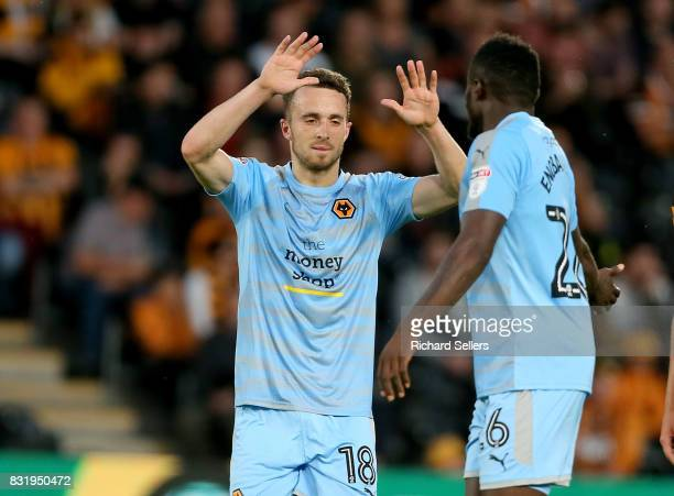 Dioga Jota of Wolves celebrates with Bright Enobakhare after making it 21 during the Sky Bet Championship match between Hull City and Wolverhampton...