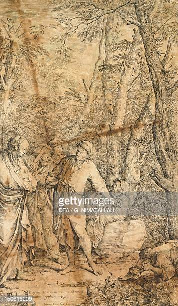 Diogenes casting away his bowl by Salvator Rosa etching