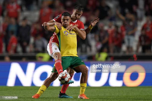 Diogo Almeida of FC Pacos de Ferreira with Francisco Ferreira Ferro of SL Benfica in action during the Liga NOS match between SL Benfica and FC Pacos...