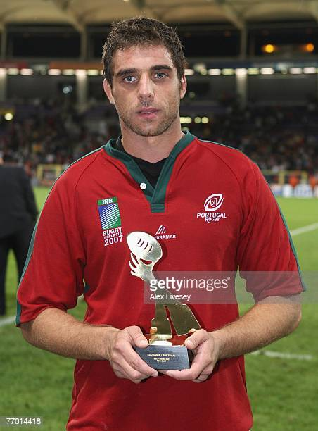 Diogo Coutinho of Portugal poses with the Man of the Match award during Match Thirty of the Rugby World Cup 2007 between Romania and Portugal at Le...
