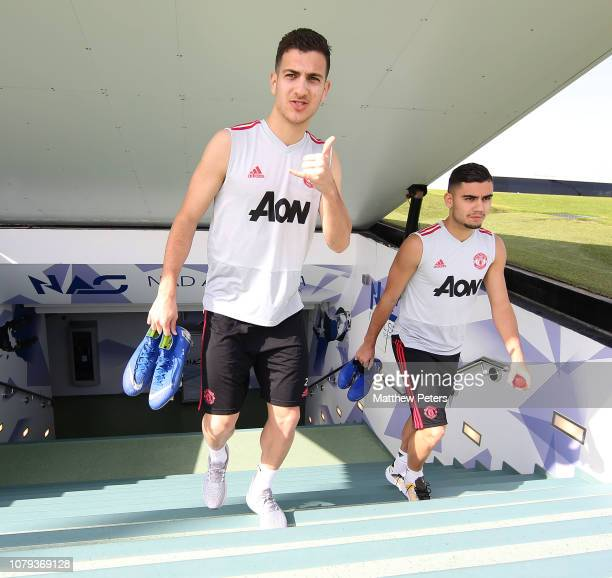 Diogo Dalot and Andreas Pereira of Manchester United in action during a first team training session at Nad Al Sheba Sports Complex on January 8 2019...