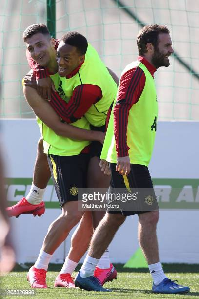 Diogo Dalot and Anthony Martial of Manchester United in action during a first team training session on February 10, 2020 in Malaga, Spain.