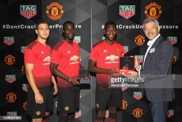 Diogo Dalot Eric Bailly Timothy FosuMensah and Vice President of Marketing for TAG Heuer Andrea Soriani attend the Launch of New TAG Heuer Manchester...