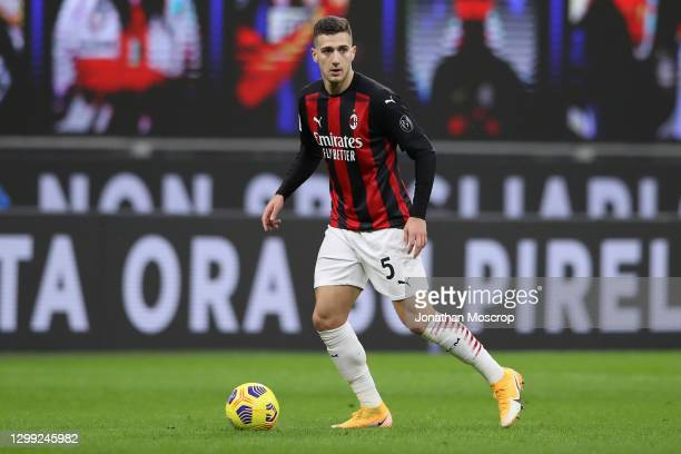 Diogo Dalot of AC Milan during the Coppa Italia match between FC Internazionale and AC Milan at Stadio Giuseppe Meazza on January 26, 2021 in Milan,...