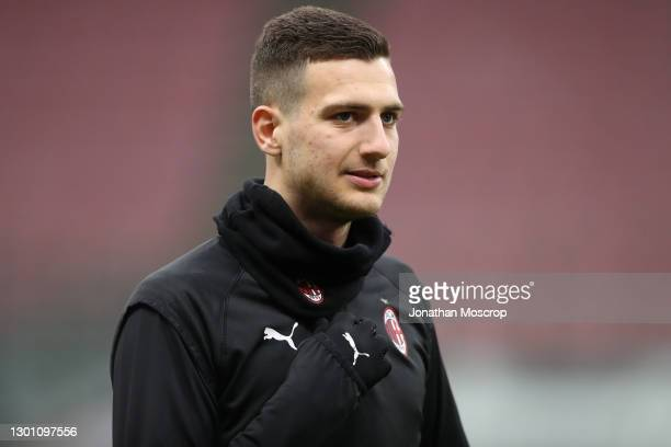 Diogo Dalot of AC Milan during the warm up prior to the Serie A match between AC Milan and FC Crotone at Stadio Giuseppe Meazza on February 07, 2021...