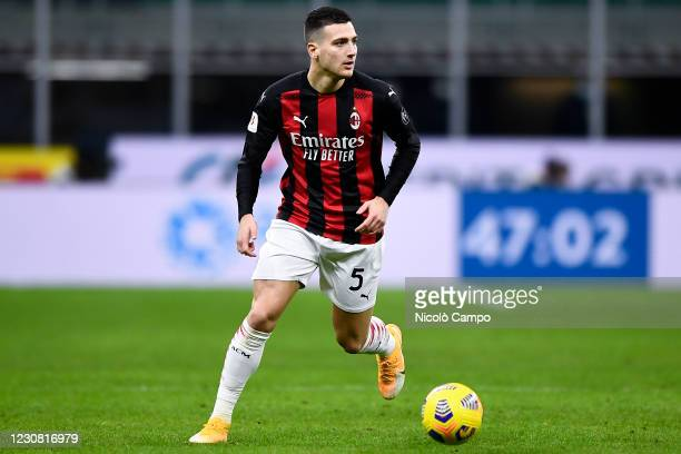 Diogo Dalot of AC Milan in action during the Coppa Italia football match between FC Internazionale and AC Milan. FC Internazionale won 2-1 over AC...