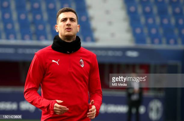 Diogo Dalot of AC Milan in action ,during the Serie A match between Bologna FC and AC Milan at Stadio Renato Dall'Ara on January 30, 2021 in Bologna,...