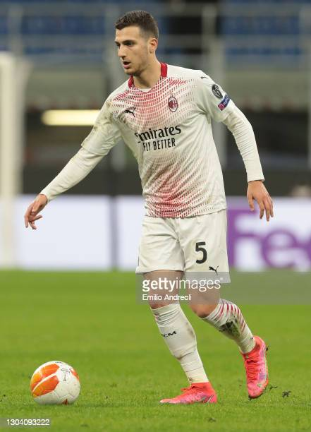 Diogo Dalot of AC Milan in action during the UEFA Europa League Round of 32 match between AC Milan and Crvena Zvezda at on February 25, 2021 in...