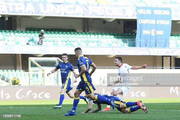 Diogo Dalot of AC Milan scores their side's second goal during the Serie A match between Hellas Verona FC and AC Milan at Stadio Marcantonio...