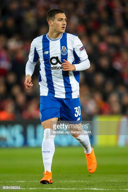 Diogo Dalot of FC Porto during the UEFA Champions League Round of 16 Second Leg match between Liverpool and FC Porto at Anfield on March 6 2018 in...