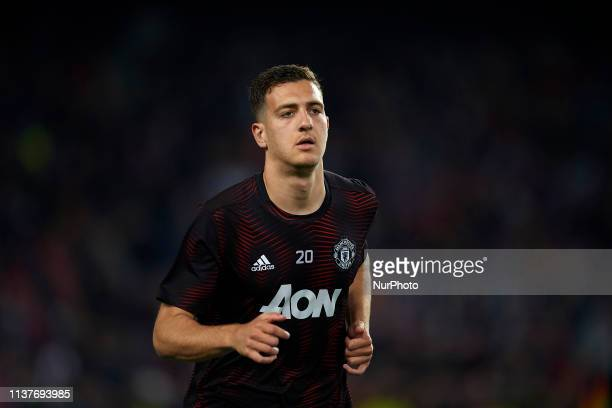 Diogo Dalot of Mancherter during the warmup before the UEFA Champions League Quarter Final second leg match between FC Barcelona and Manchester...