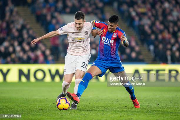 Diogo Dalot of Manchester United and Patrick van Aanholt of Crystal Palace during the Premier League match between Crystal Palace and Manchester...