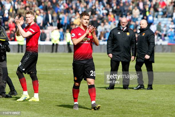 Diogo Dalot of Manchester United applauds fans after the Premier League match between Huddersfield Town and Manchester United at John Smith's Stadium...