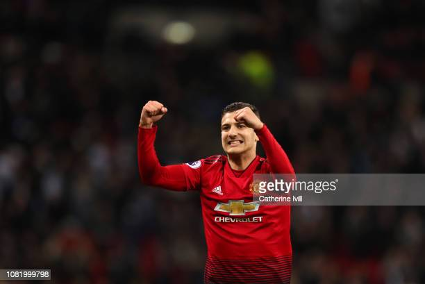 Diogo Dalot of Manchester United celebrates after the Premier League match between Tottenham Hotspur and Manchester United at Wembley Stadium on...