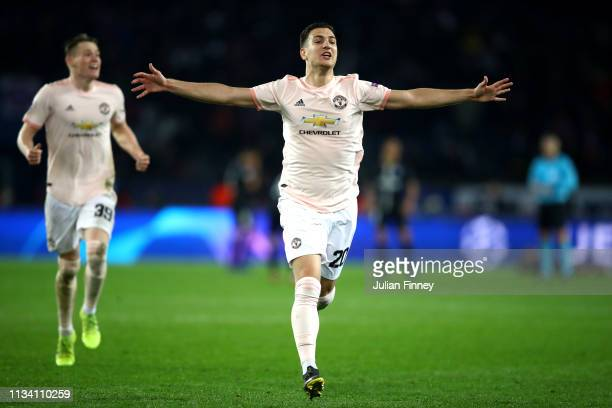 Diogo Dalot of Manchester United celebrates during the UEFA Champions League Round of 16 Second Leg match between Paris SaintGermain and Manchester...