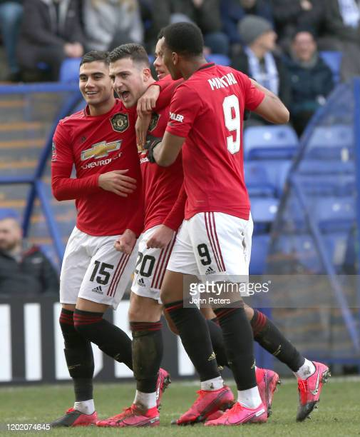 Diogo Dalot of Manchester United celebrates scoring their second goal during the FA Cup Fourth Round match between Tranmere Rovers and Manchester...