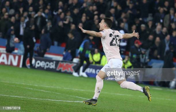 Diogo Dalot of Manchester United celebrates the victory following the UEFA Champions League Round of 16 Second Leg match between Paris SaintGermain...
