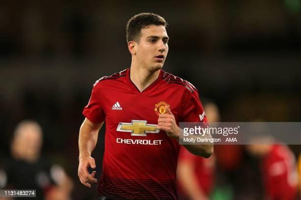 Diogo Dalot of Manchester United during the FA Cup Quarter Final match between Wolverhampton Wanderers and Manchester United at Molineux on March 16...