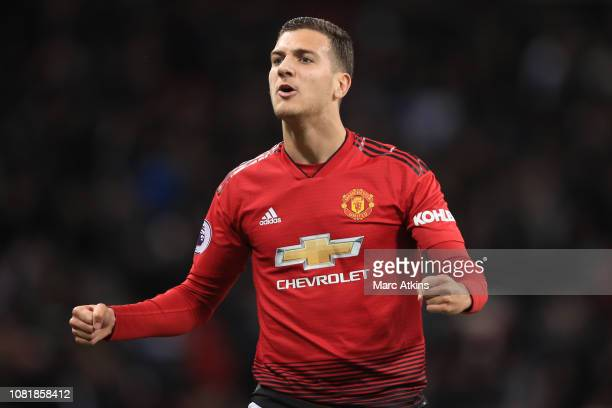 Diogo Dalot of Manchester United during the Premier League match between Tottenham Hotspur and Manchester United at Wembley Stadium on January 13...