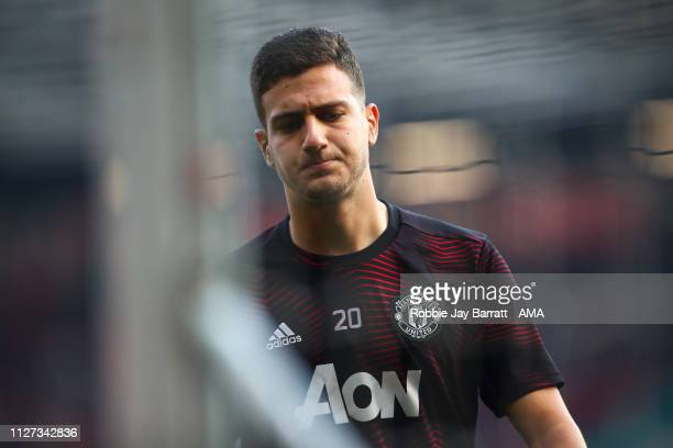 Diogo Dalot of Manchester United during the Premier League match between Manchester United and Liverpool FC at Old Trafford on February 24 2019 in...