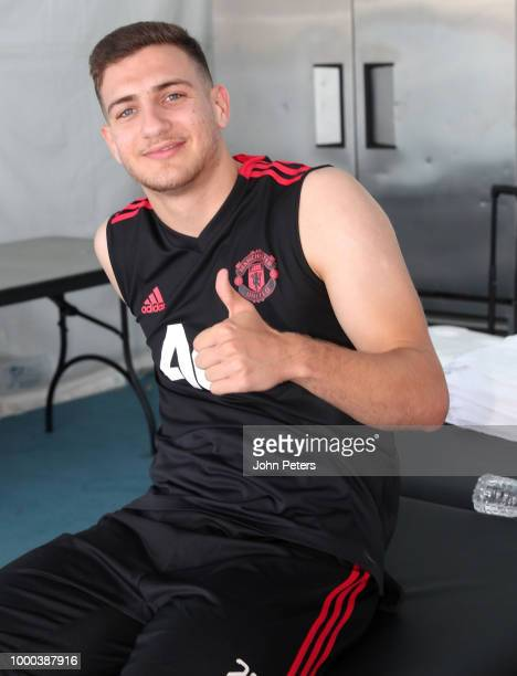 Diogo Dalot of Manchester United gives a thumbs up during a Manchester United preseason training session at UCLA on July 16 2018 in Los Angeles...