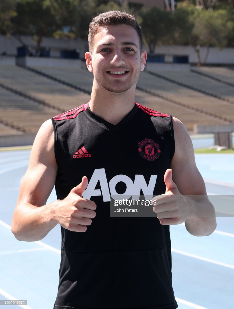 Diogo Dalot of Manchester United gives a thumbs up during a Manchester United pre-season training session at UCLA on July 20, 2018 in Los Angeles, California.