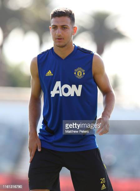Diogo Dalot of Manchester United in action during a first team training session as part of their preseason tour of Australia Singapore and China at...