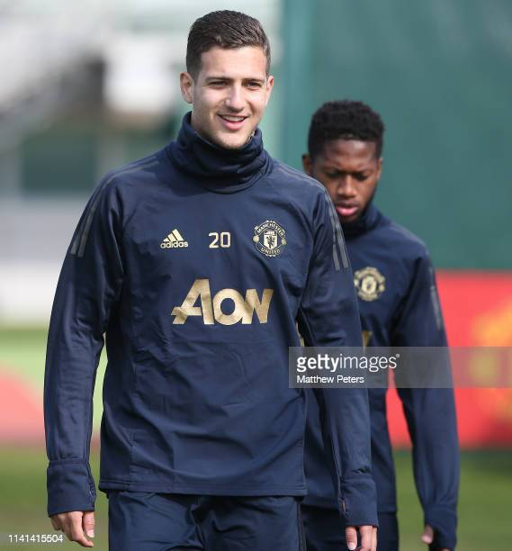 Diogo Dalot of Manchester United in action during a first team training session at Aon Training Complex on April 09 2019 in Manchester England