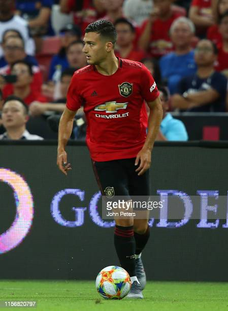 Diogo Dalot of Manchester United in action during the 2019 International Champions Cup match between Manchester United and FC Internazionale at the...