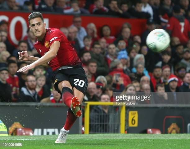 Diogo Dalot of Manchester United in action during the Carabao Cup Third Round match between Manchester United and Derby County at Old Trafford on...