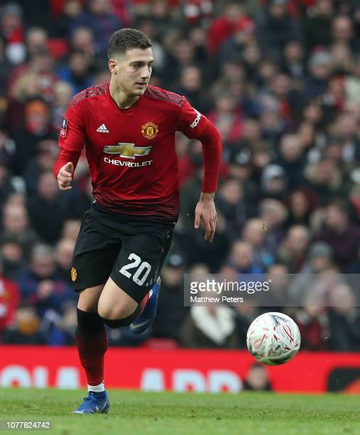 Diogo Dalot of Manchester United in action during the FA Cup Third Round match between Manchester United and Reading at Old Trafford on January 5...