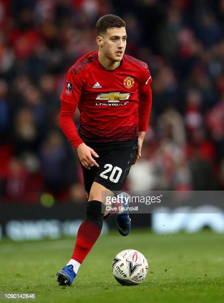 Diogo Dalot of Manchester United in action during the FA Cup Third Round match between Manchester United and Reading at Old Trafford on January 05...