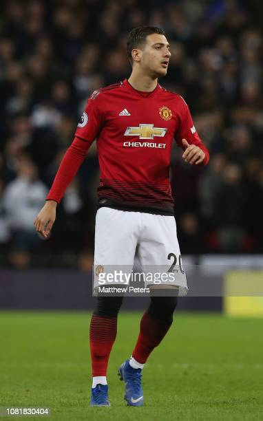 Diogo Dalot of Manchester United in action during the Premier League match between Tottenham Hotspur and Manchester United at Wembley Stadium on...